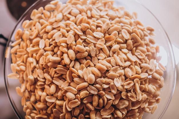 Tasty snack peanuts on a plate