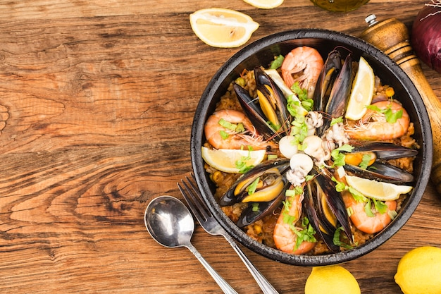 Tasty spanish paella with seafood