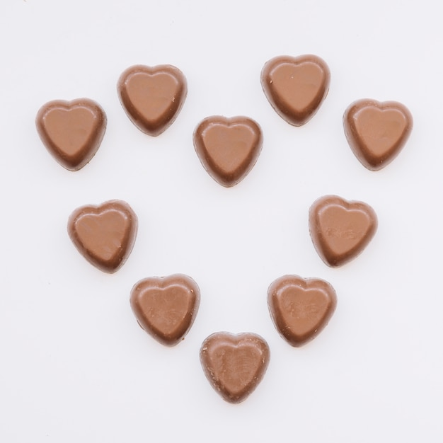 Tasty sweet chocolate candies in form of heart