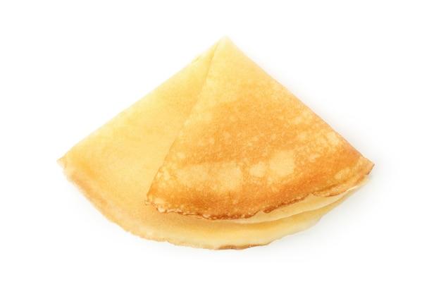Tasty thin pancake isolated on white background