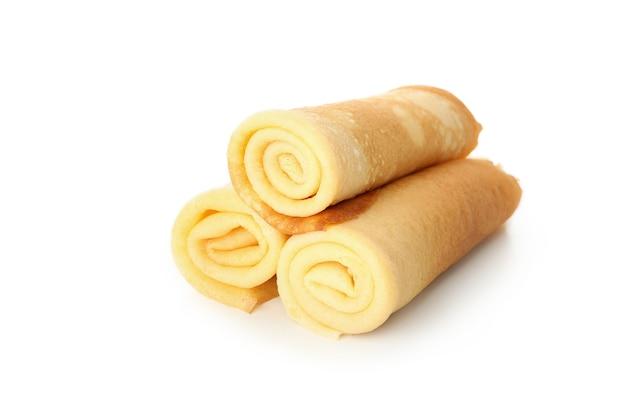 Tasty thin pancakes isolated on white background