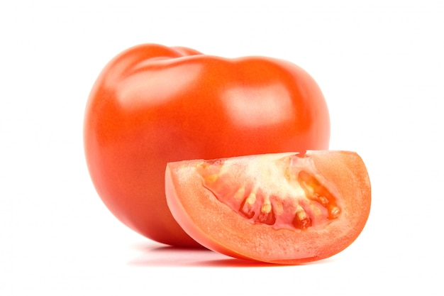 Tasty tomatoes isolated on white