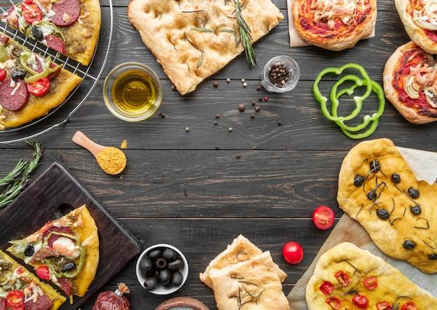 맛있는 전통 피자 구성
