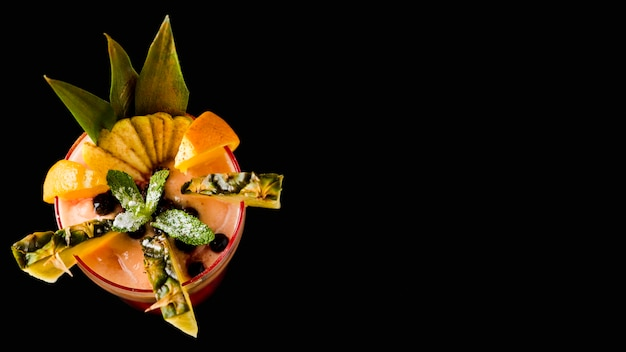 Tasty tropical cocktail copy space