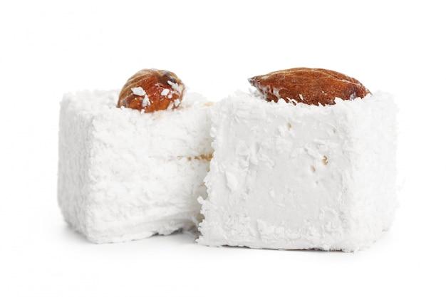 Tasty turkish delight  on white