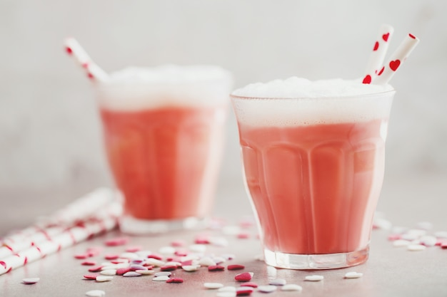 Tasty valentines day drink made from milk