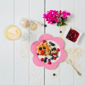 Tasty waffle nd juice