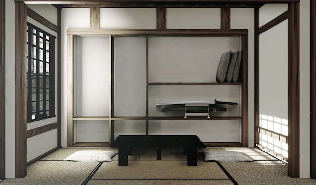 Tatami mats and paper window in japanese room style. 3d rendering