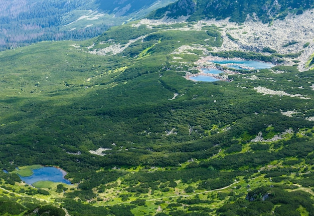 Tatra mountain, poland, view to valley gasienicowa  and group of glacial lakes