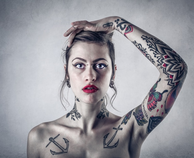 Tattooed young girl