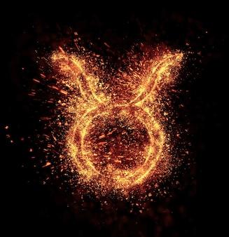 おうし座のシンボルの火花は黒に分離されています