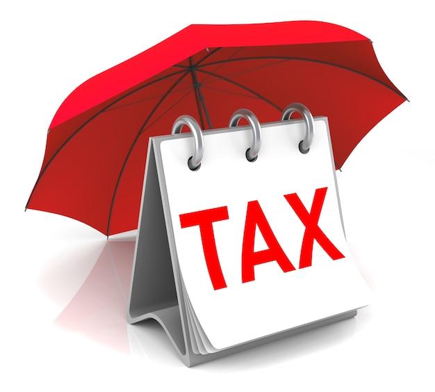 Налоговый калердар с красным зонтиком. 3d-рендеринг изображения