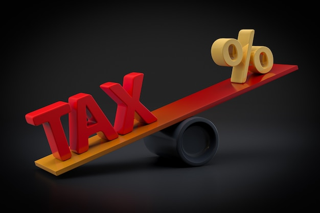 Налоговая концепция с символом процента - 3d-рендеринг