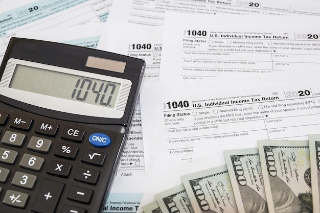 Tax forms 1040. financial concept.