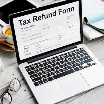 Tax refund form on a laptop screen