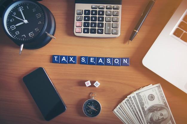 Tax season on workplace.