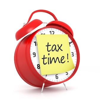 ポストイットの課税時間と赤い目覚まし時計。 3dレンダリング