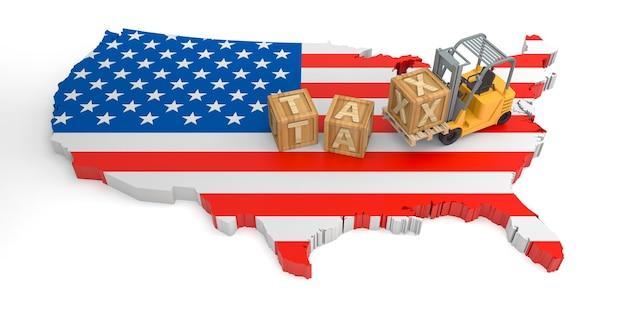 미국의 세금 나무 블록 텍스트. 3d 렌더링