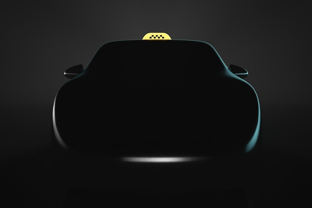 Taxi car silhouette. front view. transport topics