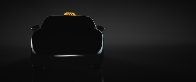 Taxi car silhouette. front view