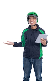 Taxi driver with helmet presenting blank space over white background