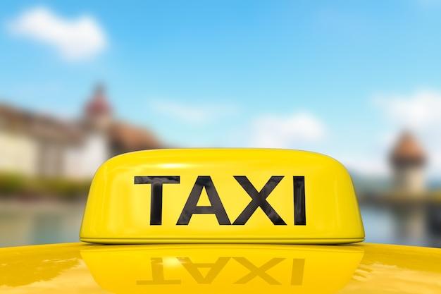 도시 경관을 배경으로 여행하기 위한 택시