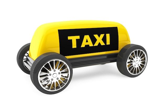 Знак такси на колесах на белом фоне