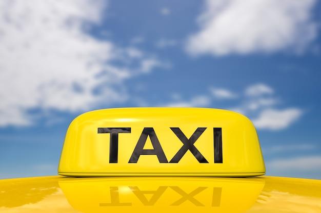 푸른 하늘 배경에 택시 기호