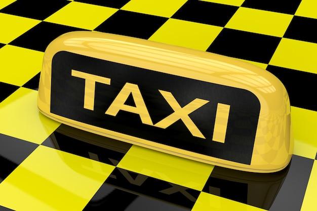 노란색과 검은색 체스판 배경에 택시 기호