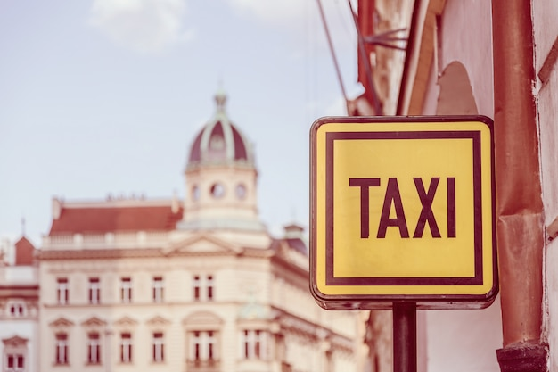 Taxi sign on the street in prague