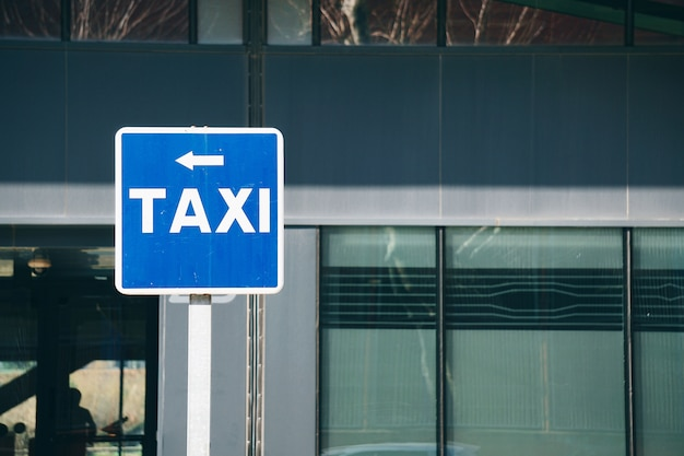 Taxi stand traffic sign in the street in bilbao city spain