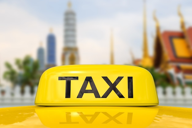 Taxi for traveling with bangkok cityscape background