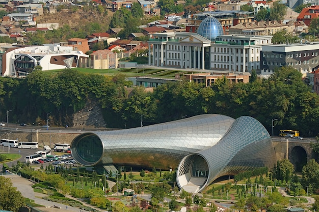 Tbilisi music theater and exhibition hall in rhike park with the ceremonial palace of georgia