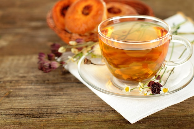 Tea border, organic food background