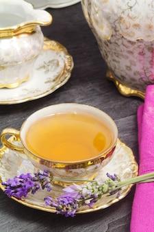 Tea break with lavender flavored tea