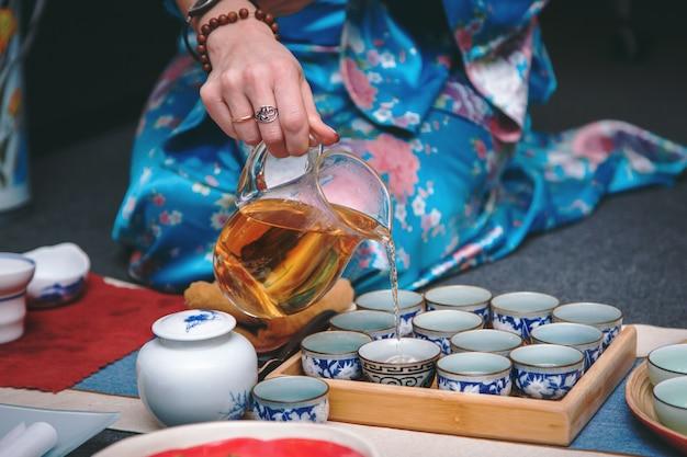 Tea ceremony, tea brewing process.
