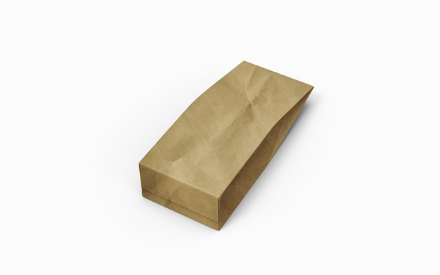 Tea or coffee brown paper packaging bag isolated on white background. 3d rendering.
