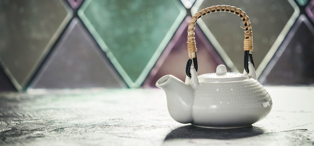 Tea composition near the old window, space for text