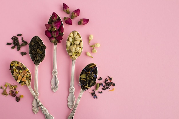 Состав чая различных видов чая в ложках