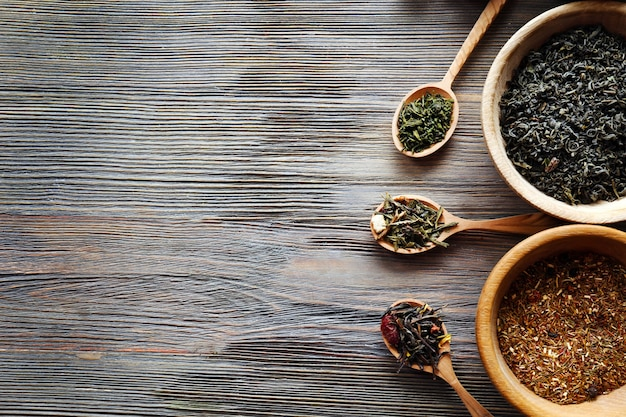 Tea concept. different kinds of tea on wooden surface