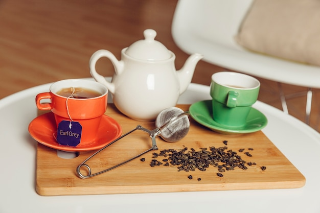 Tea concept on wooden board