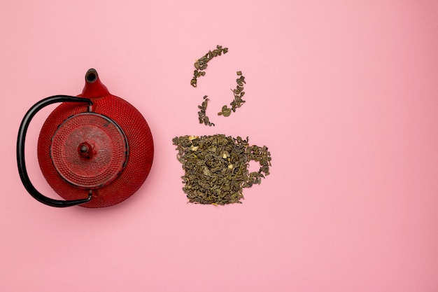 Tea cup icon made of dry oolong tea leaves