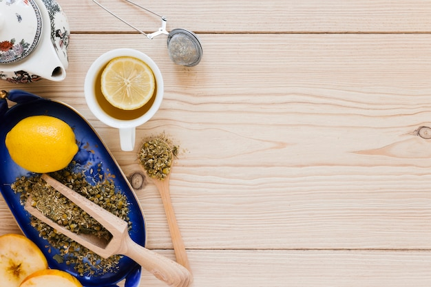 Tea cup with lemons and kettle