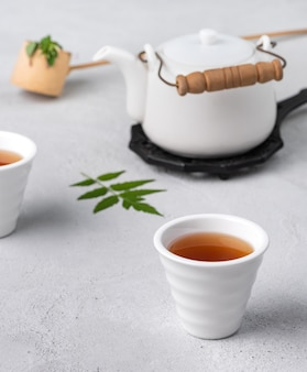 Tea cup with teapot food background