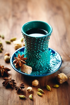 Tea or different drink with spices