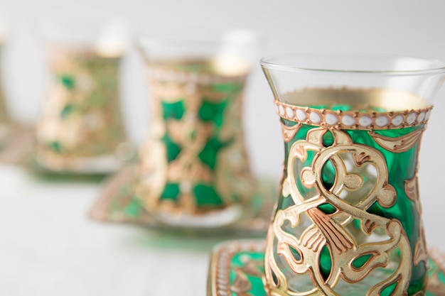 Tea glasses decorated in oriental style