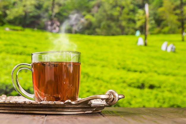 木製のテーブルと茶畑の背景にガラスのコップのお茶