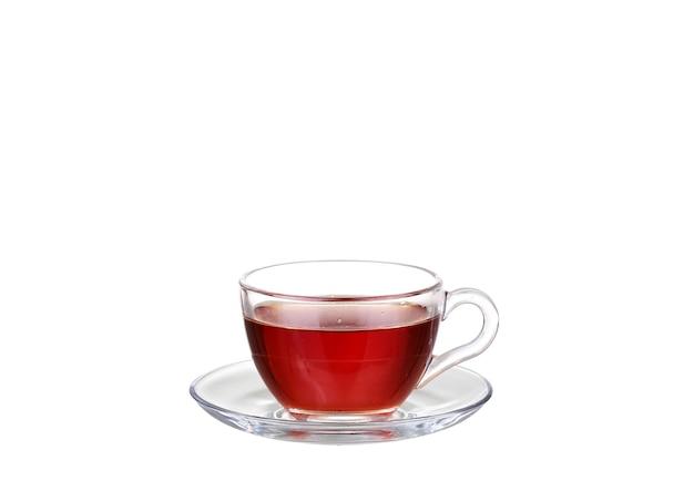 白で隔離ガラスカップのお茶