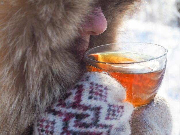 겨울 숲에서 차입니다. 추운 날씨에 예쁜 여자가 차를 마신다.