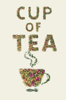 Tea leaf with flowers and fruit word cup of tea, top view